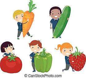 légumes, gosses, stickman, illustration, fruits