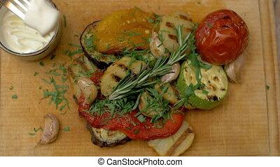 légumes grillés, avoir, repas