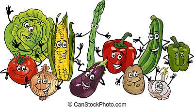 légumes, groupe, dessin animé, illustration, heureux