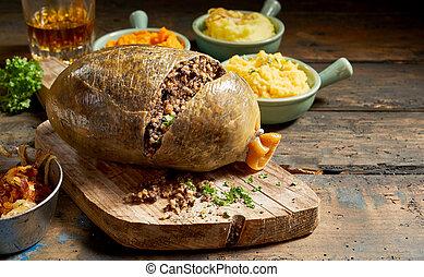 légumes, haggis, cuit, ouvert, coupé