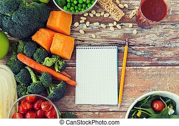 légumes, haut, mûre, table, cahier, fin