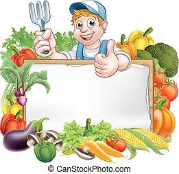 légumes, jardinier, signe
