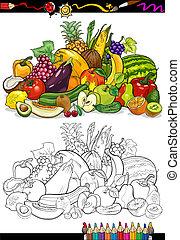 légumes, livre coloration, fruits