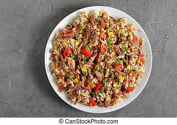 légumes mélangés, riz, juteux, boeuf