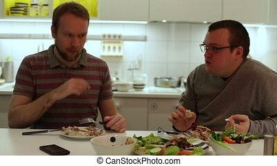 légumes, manger, deux, poulet, homme