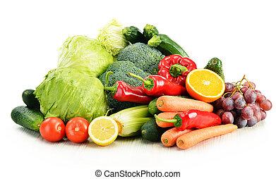 légumes, organique, blanc, isolé