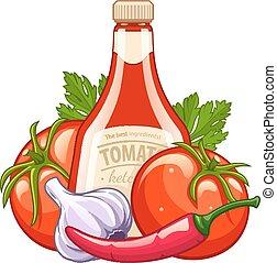 légumes, organique, bouteille ketchup, ingrédients