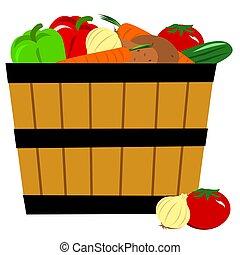 légumes, panier, frais