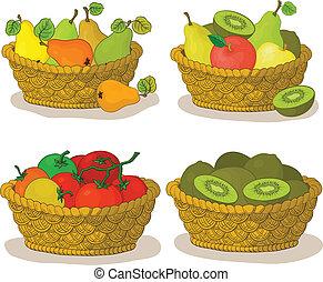 légumes, paniers, fruits