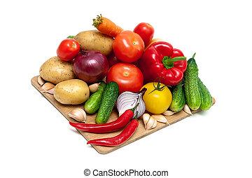 légumes, planche découper, fond, blanc