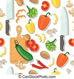 légumes, planche découper, seamless