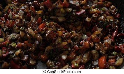 légumes, remuer font frire, nourriture, spatula., sain, moule, frit