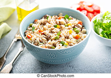 légumes, riz, boeuf