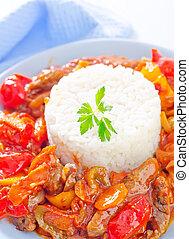 légumes, riz, bouilli