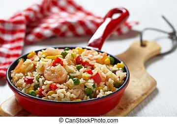 légumes, riz, crevettes
