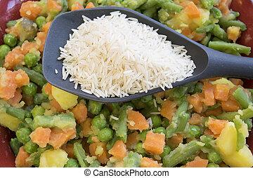 légumes, riz, cuit vapeur, basmati
