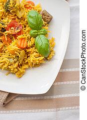 légumes, riz, poulet, basmati
