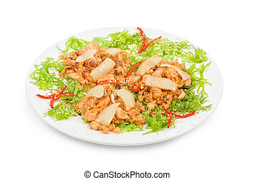 légumes, riz, rôti