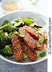 légumes, riz, teryaki, tempeh