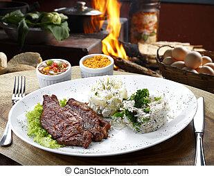 légumes, riz, viande, pomme terre