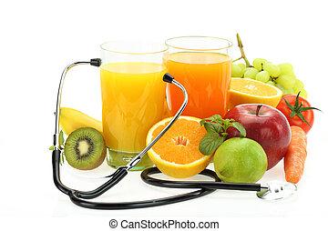 légumes, sain, eating., jus, stéthoscope, fruits