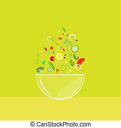 légumes, salade, tomber, bol