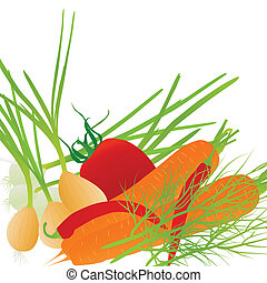 légumes, vecteur, écologie, fond
