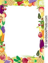 légumes, vecteur, cadre, fruits