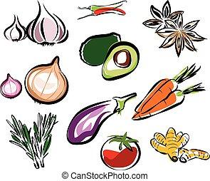 légumes, vecteur