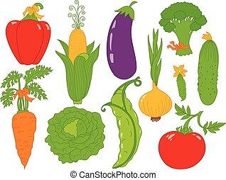 légumes, vecteur, ensemble