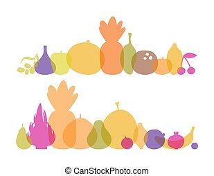 légumes, vecteur, fond, silhouettes, coloré, translucide