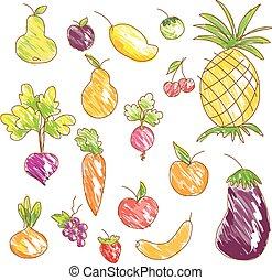 légumes, vecteur, fruits