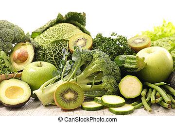 légumes, vert, assorti