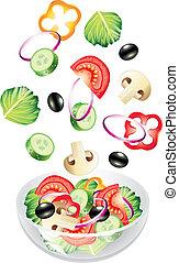 légumes, voler, salade