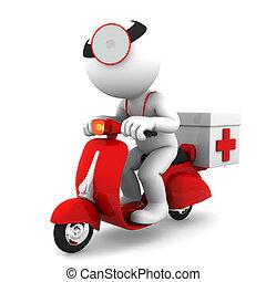lékař, dále, scooter., pohotovostní, lékařský úřady, pojem