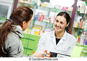 lékařský, lékárna, lék, koupě