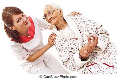 lékařský, manželka, dávný, péče