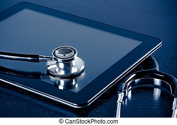 lékařský, stetoskop, dále, moderní, prst tabulka, pc, do,...