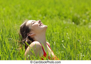 lélegzés, kaszáló, arc, friss, leány, levegő, boldog