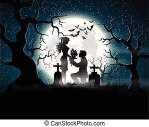 lélek, szerelmes pár, alatt, a, holdfény