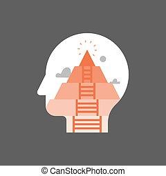 lélekelemzés, fokozat, elmebeli, személyes, actualization, emberi, igények, növekedés, piramis, sself, fogalom, maga tudatosság, kialakulás