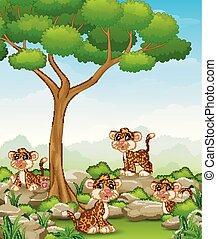 léopard, groupe, jungle, dessin animé
