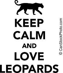léopards, amour, calme, garder