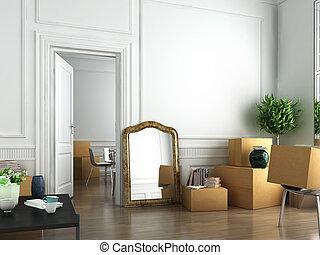 lépés, fordíts, egy, új, lakás