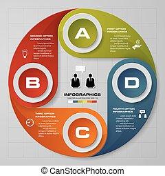 lépések, 4, háttér, infographics