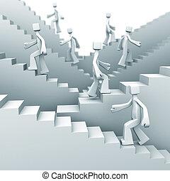 lépések, fogalom, növekedés, siker