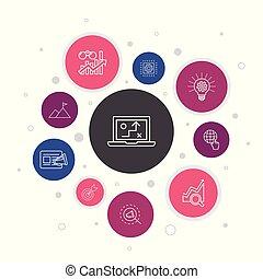 lépések, játék, ikonok, design., realitás, elismerés,...