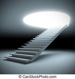 lépcsőfok, fordíts, a, future.