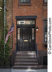 lépcsőház, és, egy, lobogó, öreg, szoba, új york város