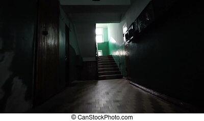 lépcsőház, öreg, épület
